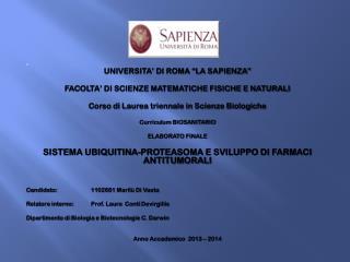 """UNIVERSITA' DI ROMA """"LA SAPIENZA"""" FACOLTA' DI SCIENZE MATEMATICHE FISICHE E NATURALI"""