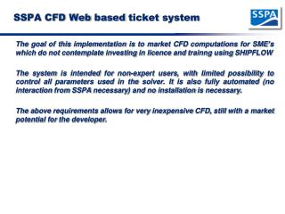 SSPA CFD Web  based  ticket system