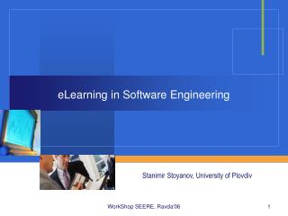 eLearning in Software Engineering