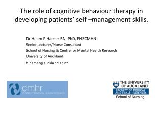 The  role of cognitive behaviour therapy in developing patients' self –management  skills.