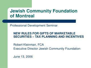Jewish Community Foundation  of Montreal