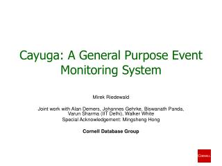 Cayuga: A General Purpose Event Monitoring System