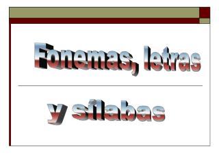 Fonemas, letras