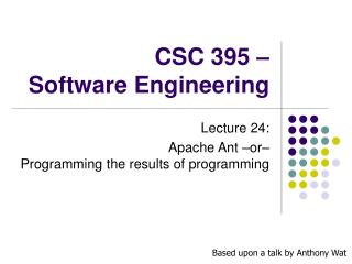 CSC 395 � Software Engineering