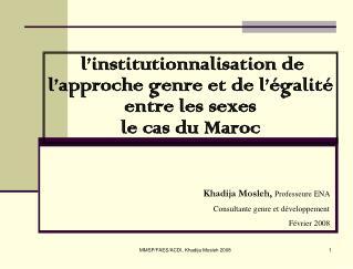 L institutionnalisation de l approche genre et de l  galit  entre les sexes  le cas du Maroc