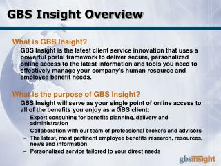 GBS Insight Overview