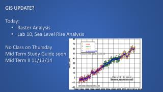 GIS UPDATE? Today: Raster Analysis Lab 10, Sea Level Rise Analysis No Class on Thursday