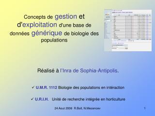 Réalisé à  l'Inra de Sophia-Antipolis . U.M.R. 1112  Biologie des populations en intéraction