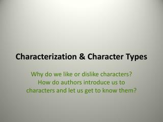 Characterization & Character Types