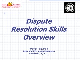 Dispute Resolution Skills Overview