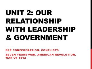 Unit 2: Our Relationship with leadership & Government