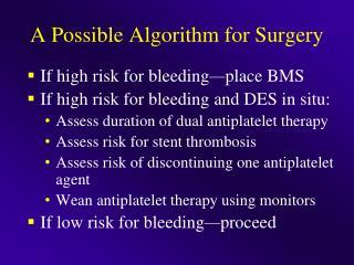 A Possible Algorithm for Surgery