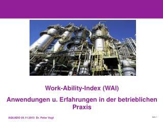 Work-Ability-Index (WAI) Anwendungen u. Erfahrungen in der betrieblichen Praxis
