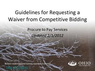 Guidelines for Requesting a Waiver from Competitive Bidding