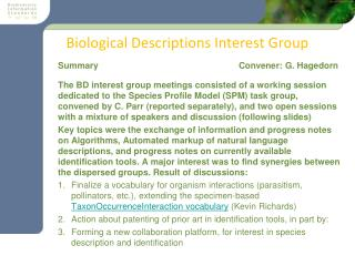 Biological Descriptions Interest Group