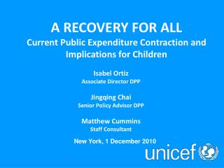 A RECOVERY FOR ALL Current Public Expenditure Contraction and Implications for Children