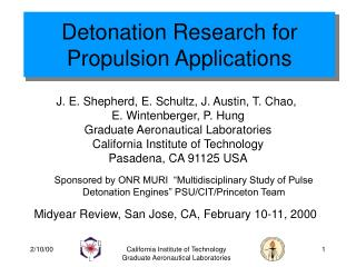 Detonation Research for Propulsion Applications