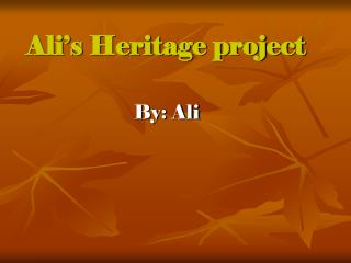 Ali's Heritage project