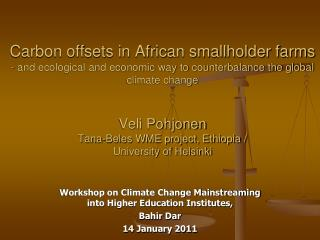 Workshop on Climate Change Mainstreaming into Higher Education Institutes,  Bahir Dar