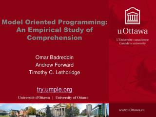 Model Oriented Programming: An Empirical Study of  Comprehension