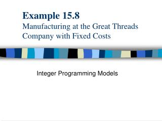 Example 15.8 Manufacturing at the Great Threads Company with Fixed Costs