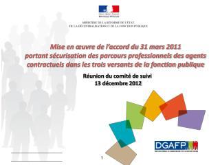 Réunion du comité de suivi   13 décembre 2012