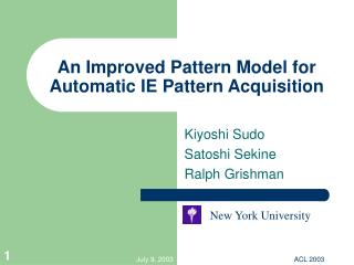 An Improved Pattern Model for Automatic IE Pattern Acquisition
