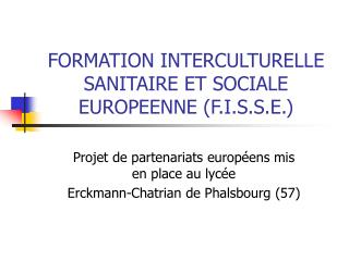FORMATION INTERCULTURELLE SANITAIRE ET SOCIALE EUROPEENNE (F.I.S.S.E.)