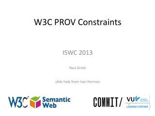 W3C PROV Constraints