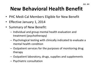 New Behavioral Health Benefit