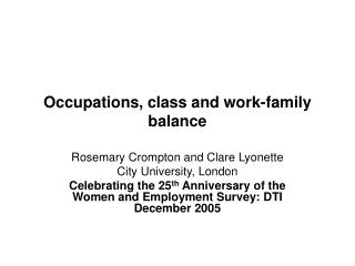 Occupations, class and work-family balance