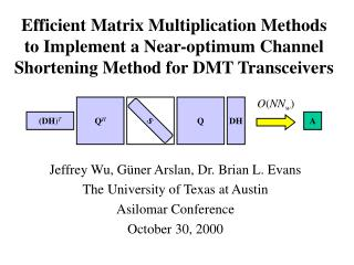 Efficient Matrix Multiplication Methods to Implement a Near-optimum Channel Shortening Method for DMT Transceivers