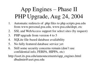 App Engines – Phase II PHP Upgrade, Aug 24, 2004