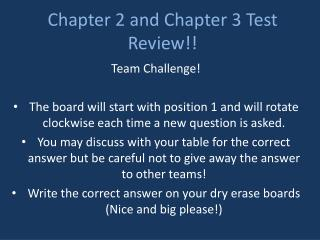 Chapter 2 and Chapter 3 Test Review!!