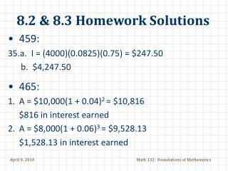 8.2 & 8.3 Homework Solutions