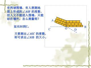 有两堵围墙,有人想测地 面上形成的 ∠ AOB  的度数, 但人又不能进入围墙,只能 站在墙外,怎么测量呢?