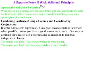 A Separate Peace II Week Skills and Principles