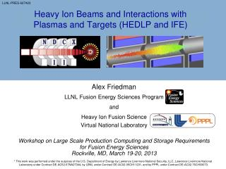 Heavy Ion Beams and Interactions with Plasmas and Targets (HEDLP and IFE)