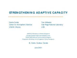 Adaptation Capacity How can it be strengthened?