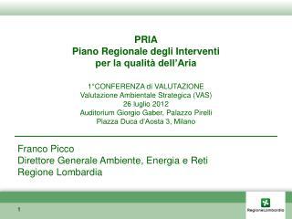 PRIA Piano Regionale degli Interventi  per la qualità dell'Aria