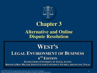 §1: Search for Alternatives  to Litigation