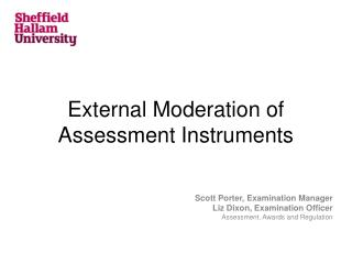 External Moderation of Assessment Instruments