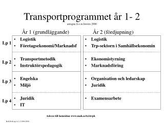 Transportprogrammet år 1- 2 antagna fr.o.m.hösten 2006
