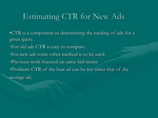Estimating CTR for New Ads