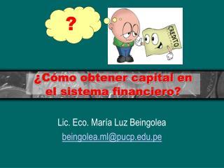 ¿ Cómo obtener capital en el sistema financiero?