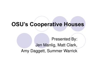 OSU's Cooperative Houses