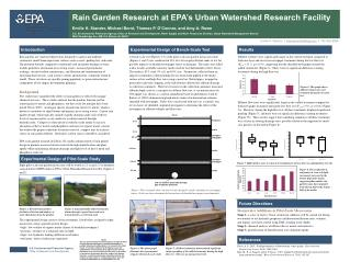 Rain Garden Research at EPA s Urban Watershed Research Facility