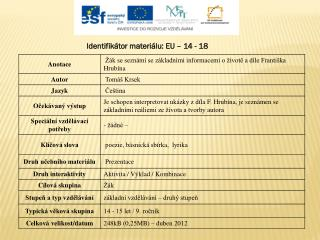 Identifikátor materiálu: EU –  14  - 18