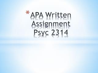 APA Written Assignment Psyc  2314
