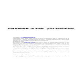 All-natural Female Hair Loss Treatment - Option Hair Growth